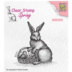 Nellies Choice Clearstamp - Easter Hen with Basket