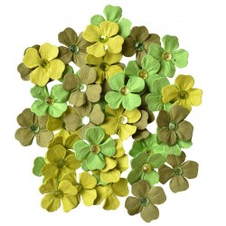 CREATIVE ELEMENTS GREEN HANDMADE FLOWERS JEWELLED PETALS X 40 PCS