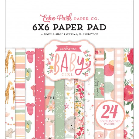 ECHO PARK PAPER WELCOME BABY GIRL PAPER PAD 15x15cm