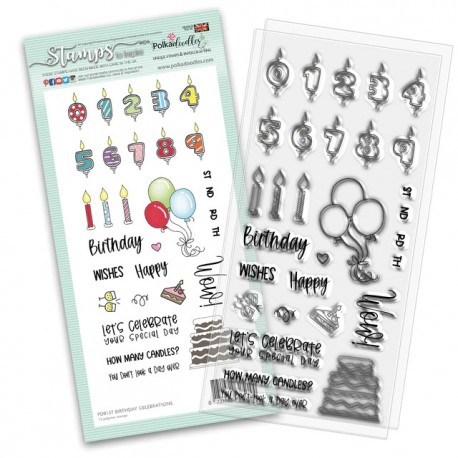 POLKADOODLES BIRTHDAY CELEBRATIONS CLEAR STAMPS