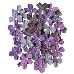 CREATIVE ELEMENTS HANDMADE PURPLE FLOWERS JEWELLED PETALS X 40 PCS