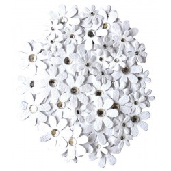CREATIVE ELEMENTS HANDMADE FLOWERS JEWELLED FLORETTES X 80 PCS, WHITE