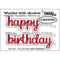 Crealies WORDZZ HAPPY BIRTHDAY with shadow