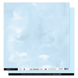 FLORILEGES DESIGN Papier uni BLEU ECUME 38 30,5 x 30,5 cm VUE SUR MER
