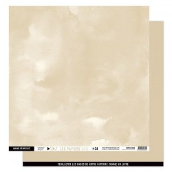FLORILEGES DESIGN Papier uni BEIGE BLOND 34 30,5 x 30,5 cm VUE SUR MER