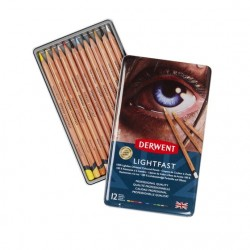 DERWENT LIGHTFAST crayons 12 pces