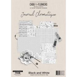 CHOU & FLOWERS KIT PAPIERS A4 BLACK WHITE JOURNAL CHROMATIQUE