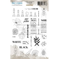CHOU & FLOWERS TAMPONS CLEAR BLACK WHITE JOURNAL CHROMATIQUE