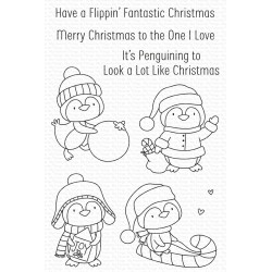 MFT CLEAR STAMPS ITS PENGUINING TO LOOK A LOT LIKE SANTA